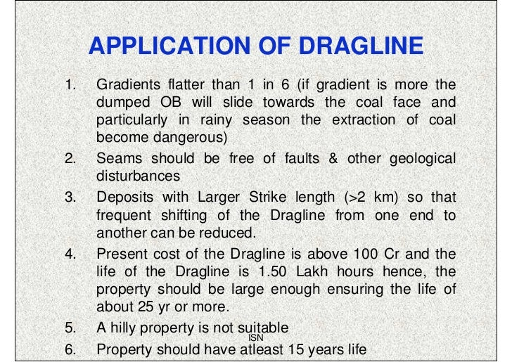 APPLICATION OF DRAGLINE1.   Gradients flatter than 1 in 6 (if gradient is more the     dumped OB will slide towards the co...