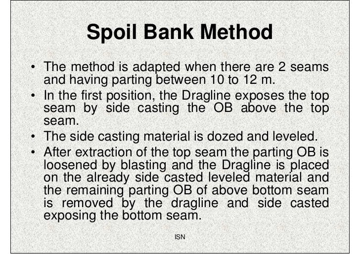 Spoil Bank Method• The method is adapted when there are 2 seams  and having parting between 10 to 12 m.• In the first posi...
