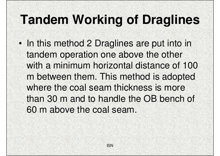 Tandem Working of Draglines• In this method 2 Draglines are put into in  tandem operation one above the other  with a mini...