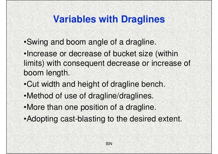 Variables with Draglines•Swing and boom angle of a dragline.•Increase or decrease of bucket size (withinlimits) with conse...