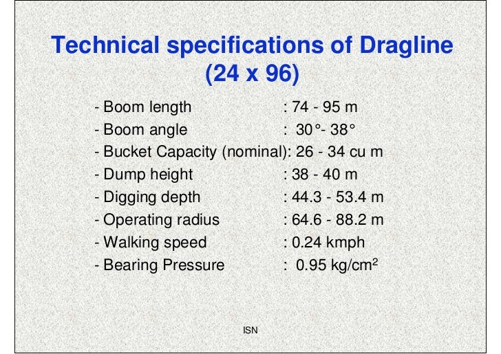 Technical specifications of Dragline             (24 x 96)   - Boom length             : 74 - 95 m   - Boom angle         ...