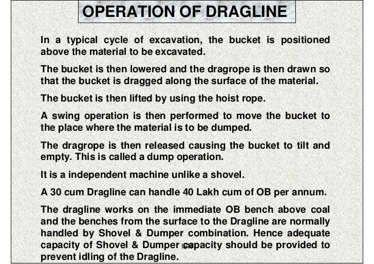 OPERATION OF DRAGLINEIn a typical cycle of excavation, the bucket is positionedabove the material to be excavated.The buck...