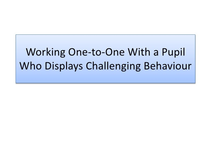 Working One-to-One With a Pupil Who Displays Challenging Behaviour<br />