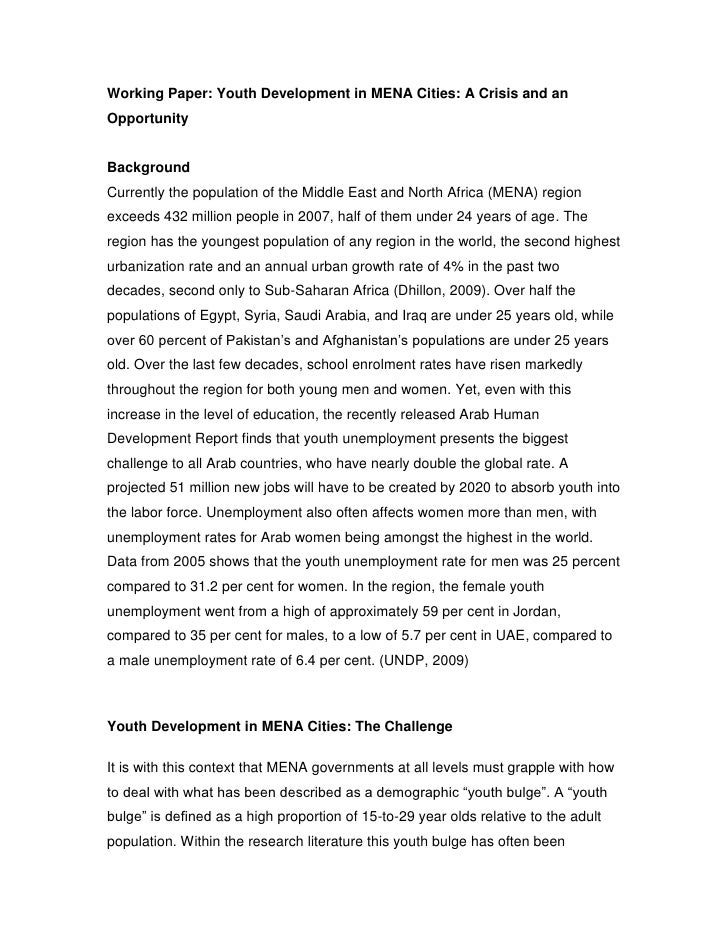 Working Paper: Youth Development in MENA Cities: A Crisis and an Opportunity<br />Background<br />Currently the population...