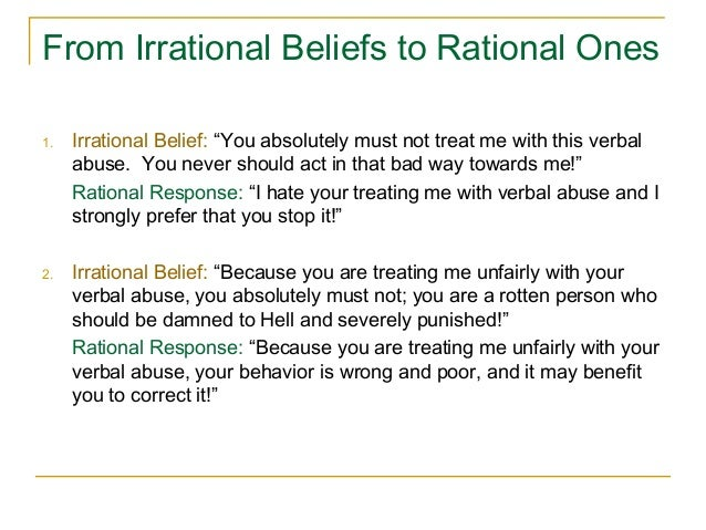 irrational beliefs essay Free essay: introduction superstitious beliefs or superstitions are considered to be irrational beliefs about an object or action considered to influence the.