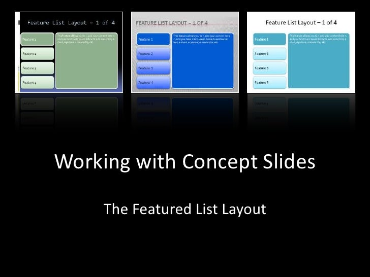 The Featured List Layout<br />Working with Concept Slides<br />