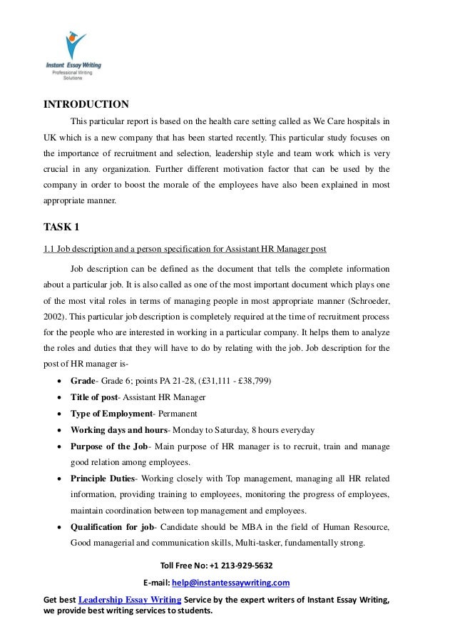 sample report on working leading people by instant essay writing 14 3