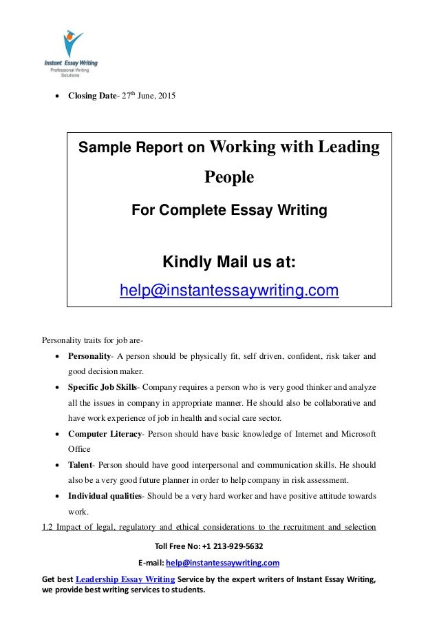 sample report on working leading people by instant essay writing 4