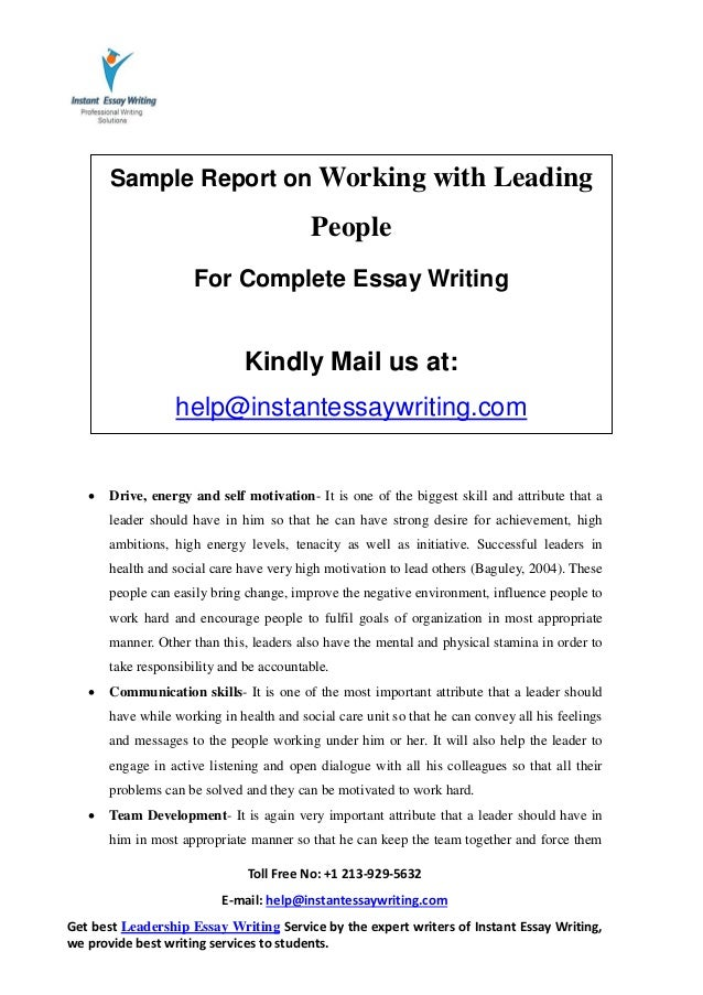 sample report on working leading people by instant essay writing 7