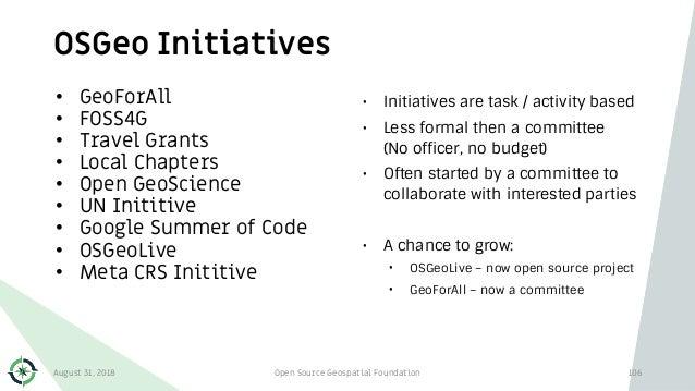 OSGeo Initiatives 106 • GeoForAll • FOSS4G • Travel Grants • Local Chapters • Open GeoScience • UN Inititive • Google Summ...