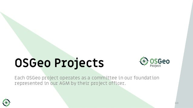 Each OSGeo project operates as a committee in our foundation represented in our AGM by their project officer. OSGeo Projec...