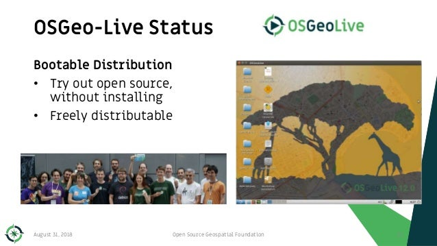 Bootable Distribution • Try out open source, without installing • Freely distributable OSGeo-Live Status 111August 31, 201...