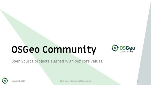 OSGeo Community Open Source projects aligned with our core values. 116August 31, 2018 Open Source Geospatial Foundation