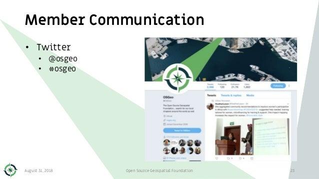 Member Communication • Twitter • @osgeo • #osgeo August 31, 2018 Open Source Geospatial Foundation 23