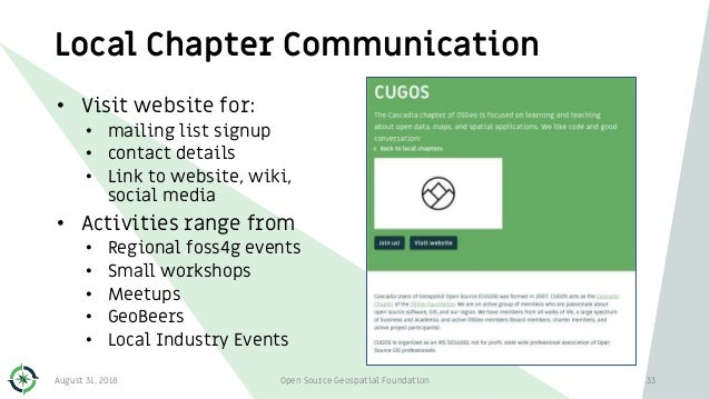 Local Chapter Communication • Visit website for: • mailing list signup • contact details • Link to website, wiki, social m...
