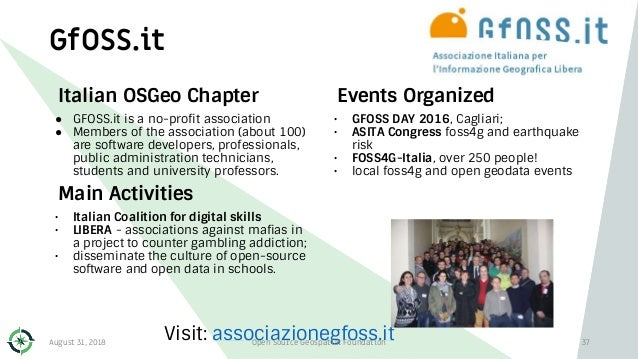 Events Organized • GFOSS DAY 2016, Cagliari; • ASITA Congress foss4g and earthquake risk • FOSS4G-Italia, over 250 people!...