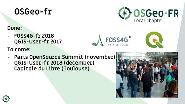 OSGeo-fr Done: - FOSS4G-fr 2018 - QGIS-User-fr 2017 To come: - Paris OpenSource Summit (november) - QGIS-User-fr 2018 (dec...