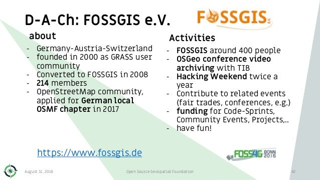 D-A-Ch: FOSSGIS e.V. about - Germany-Austria-Switzerland - founded in 2000 as GRASS user community - Converted to FOSSGIS ...