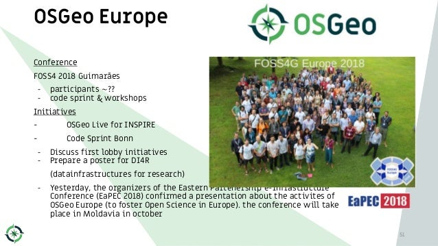 OSGeo Europe Conference FOSS4 2018 Guimarães - participants ~?? - code sprint & workshops Initiatives - OSGeo Live for INS...