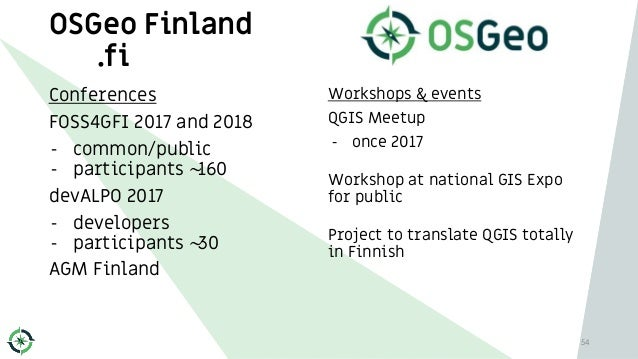OSGeo Finland .fi Conferences FOSS4GFI 2017 and 2018 - common/public - participants ~160 devALPO 2017 - developers - parti...