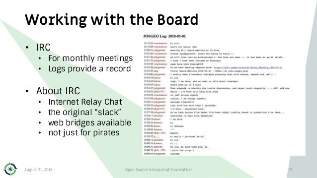Working with the Board • IRC • For monthly meetings • Logs provide a record • About IRC • Internet Relay Chat • the origin...