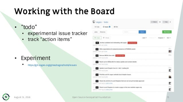 """Working with the Board • """"todo"""" • experimental issue tracker • track """"action items"""" • Experiment • https://git.osgeo.org/g..."""
