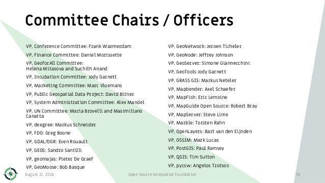 Committee Chairs / Officers VP, Conference Committee: Frank Warmerdam VP, Finance Committee: Daniel Morissette VP, GeoforA...