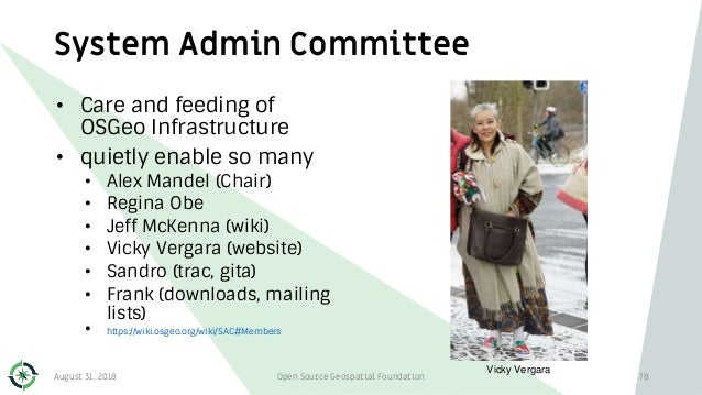 System Admin Committee • Care and feeding of OSGeo Infrastructure • quietly enable so many • Alex Mandel (Chair) • Regina ...