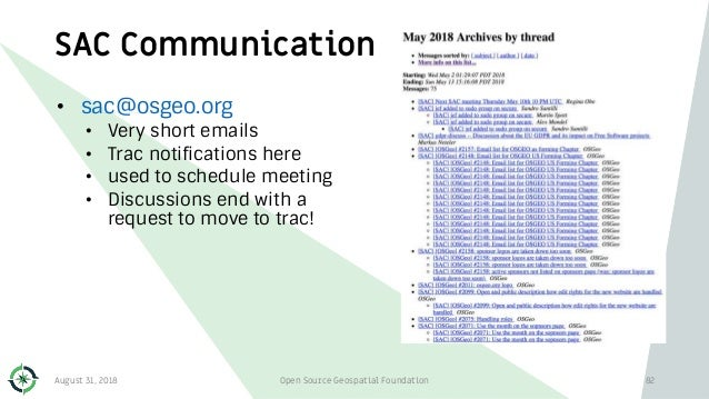 SAC Communication • sac@osgeo.org • Very short emails • Trac notifications here • used to schedule meeting • Discussions e...