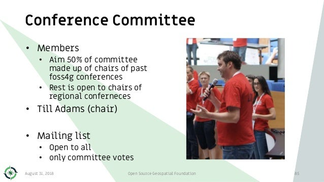 Conference Committee • Members • Aim 50% of committee made up of chairs of past foss4g conferences • Rest is open to chair...