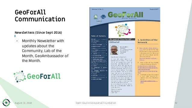 GeoForAll Communication Newsletters (Since Sept 2016) • Monthly Newsletter with updates about the Community, Lab of the Mo...