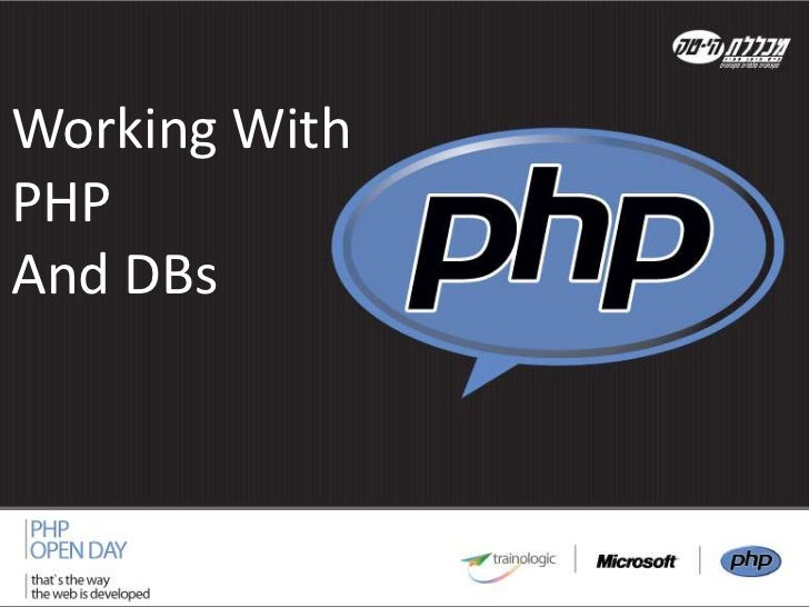 working with PHP & DB's