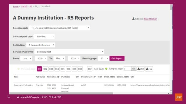 Working with R5 reports in JUSP - 30 April 201914