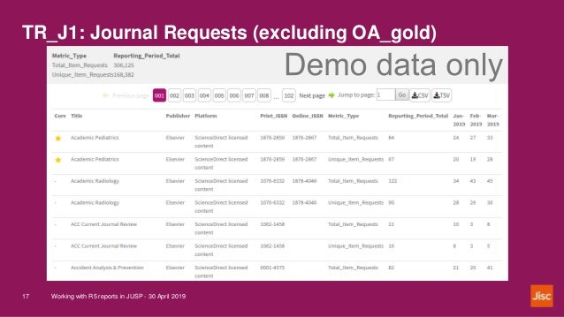 TR_J1: Journal Requests (excluding OA_gold) Working with R5 reports in JUSP - 30 April 201917
