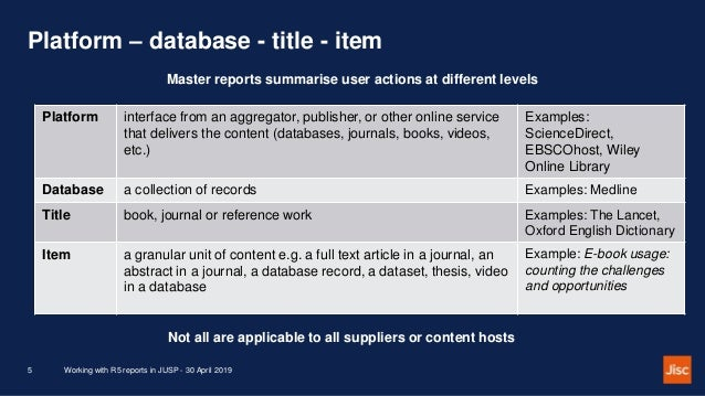 Platform – database - title - item Working with R5 reports in JUSP - 30 April 20195 Master reports summarise user actions ...
