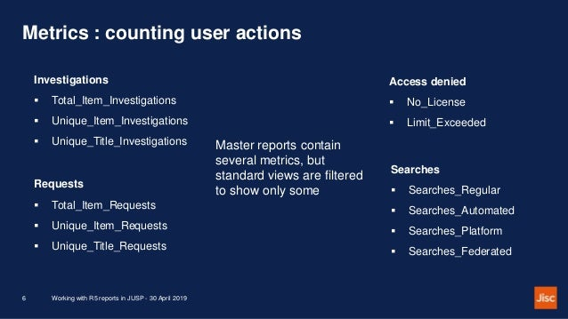 Metrics : counting user actions Working with R5 reports in JUSP - 30 April 20196 Investigations  Total_Item_Investigation...