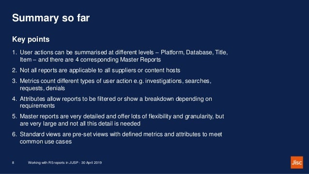 Summary so far 1. User actions can be summarised at different levels – Platform, Database, Title, Item – and there are 4 c...