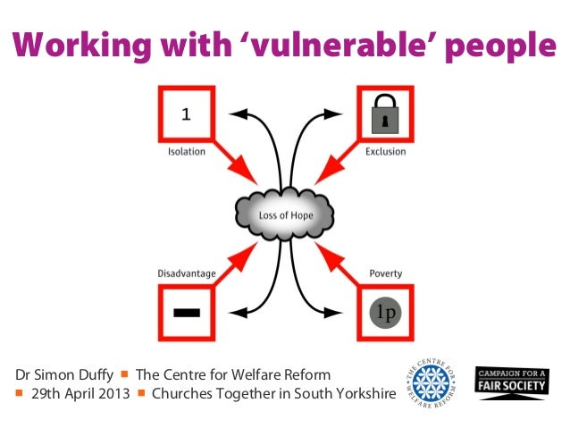Working with 'vulnerable' peopleDr Simon Duffy ■ The Centre for Welfare Reform■ 29th April 2013 ■ Churches Together in Sou...