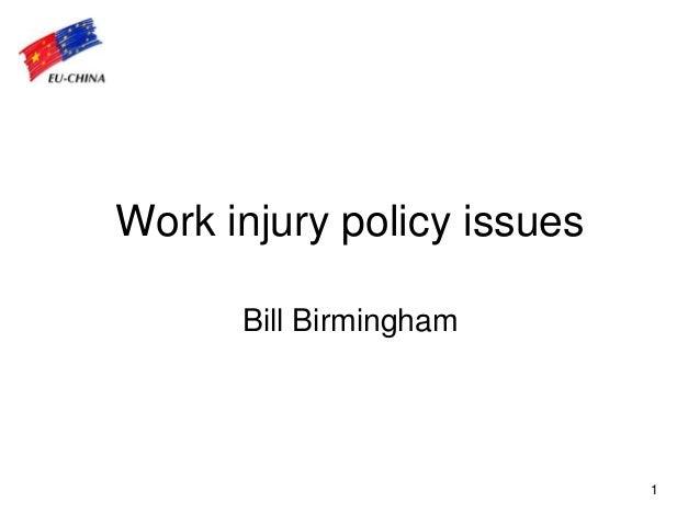 1 Work injury policy issues Bill Birmingham