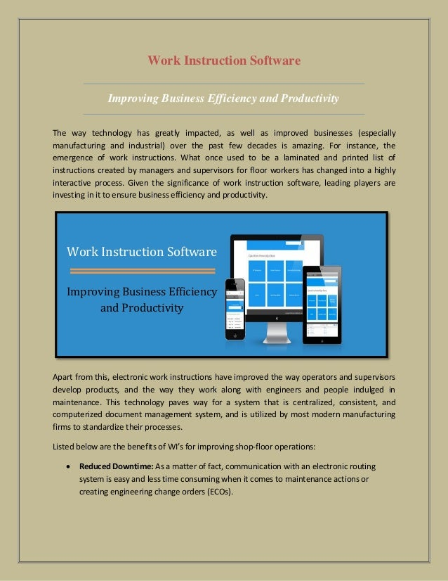 Work Instruction Software Improving Business Efficiency And Producti