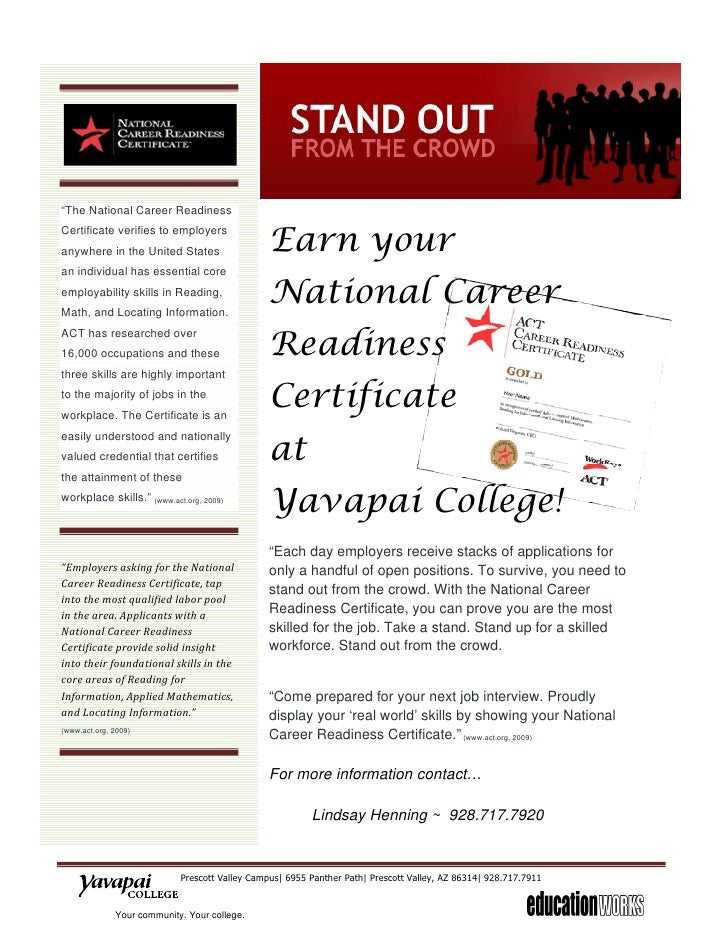 readiness career national certificate college slideshare yavapai comes upcoming flyer