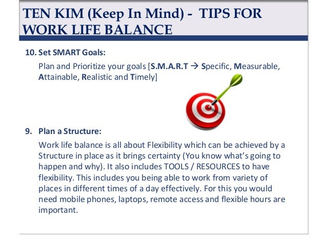 TEN KIM (Keep In Mind) - TIPS FOR WORK LIFE BALANCE 8. Practice Good Time Management: It means to do the right things in a...