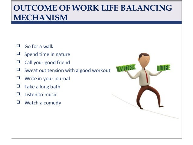 OUTCOME OF WORK LIFE BALANCING MECHANISM           Light scented candles Savor a warm cup of coffee or tea Play w...