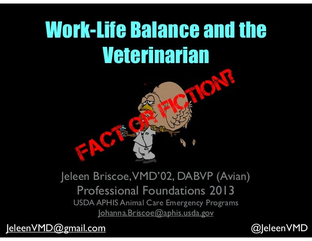 Work-Life Balance and the Veterinarian Jeleen Briscoe,VMD'02, DABVP (Avian) Professional Foundations 2013 USDA APHIS Anima...