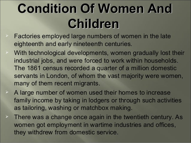 women and work in the 19th Gender ideology & separate spheres in the 19th century compared to the 20th century, there was indeed some contraction in the work open to women.