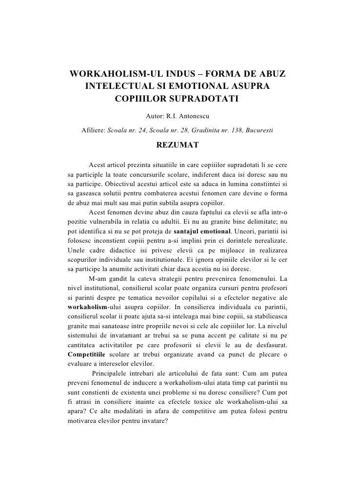 WORKAHOLISM-UL INDUS – FORMA DE ABUZ  INTELECTUAL SI EMOTIONAL ASUPRA       COPIIILOR SUPRADOTATI                         ...