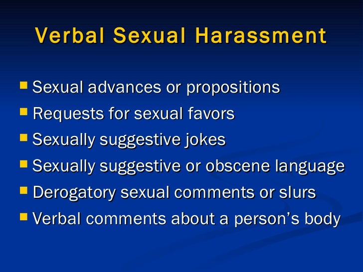 Verbal sexual harassment