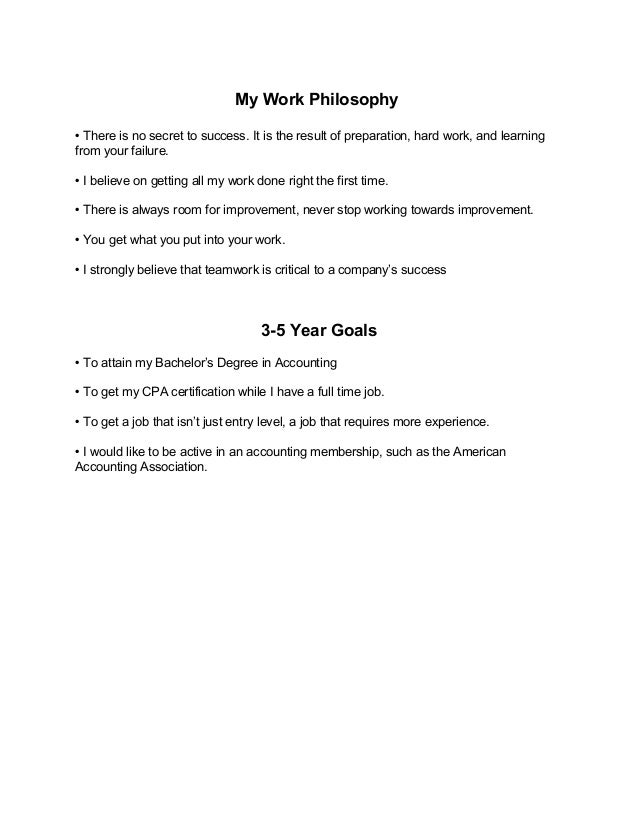 My Work Philosophy And Career Goals