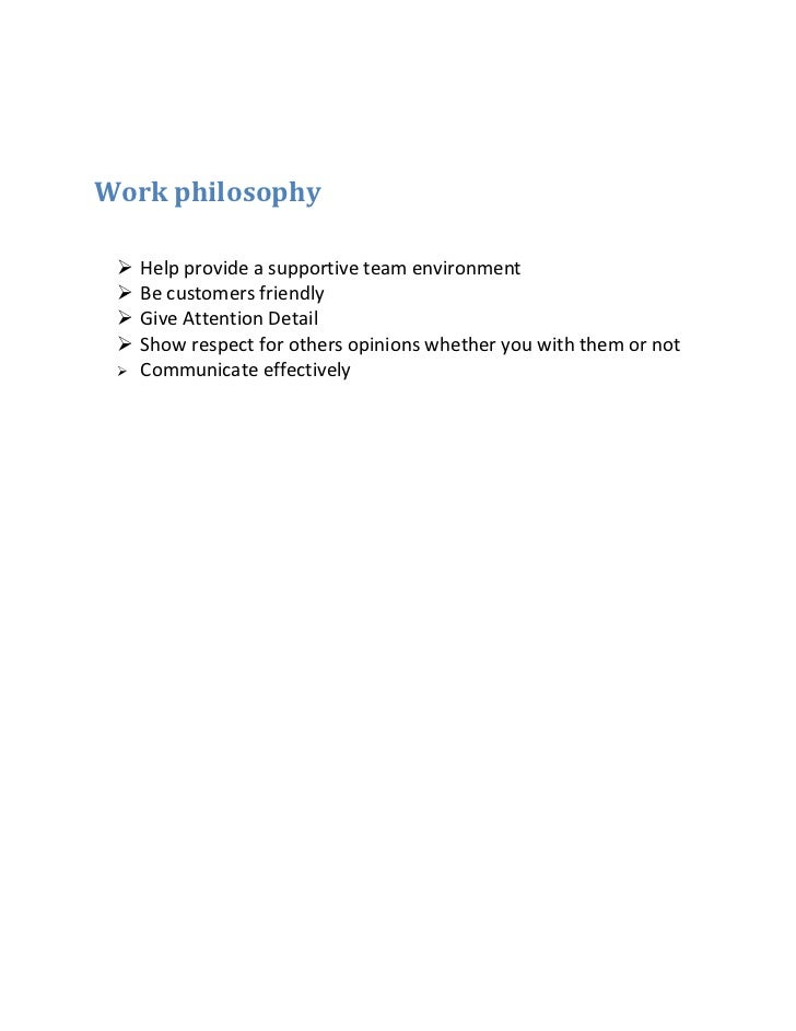 work philosophy statement examples