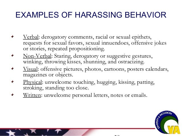 Written sexual harassment examples